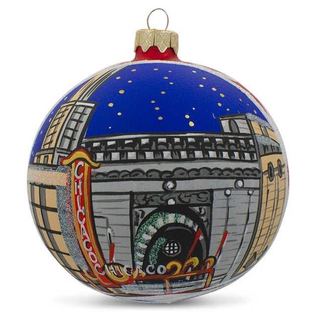 Chicago by Night Glass Ball Christmas Ornament 3.25 Inches by BestPysanky