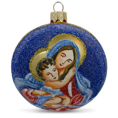 Virgin Mary Holding Jesus Glass Ball Christmas Ornament 3.25 Inches by BestPysanky