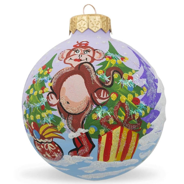 Monkey w/ Christmas Tree and Gifts Glass Ball Christmas Ornament 3.25 Inch by BestPysanky
