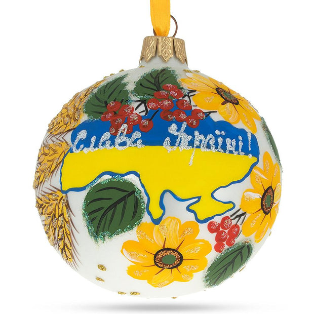 Glory to Ukraine Map Glass Ball Christmas Ornament 3.25 Inches by BestPysanky