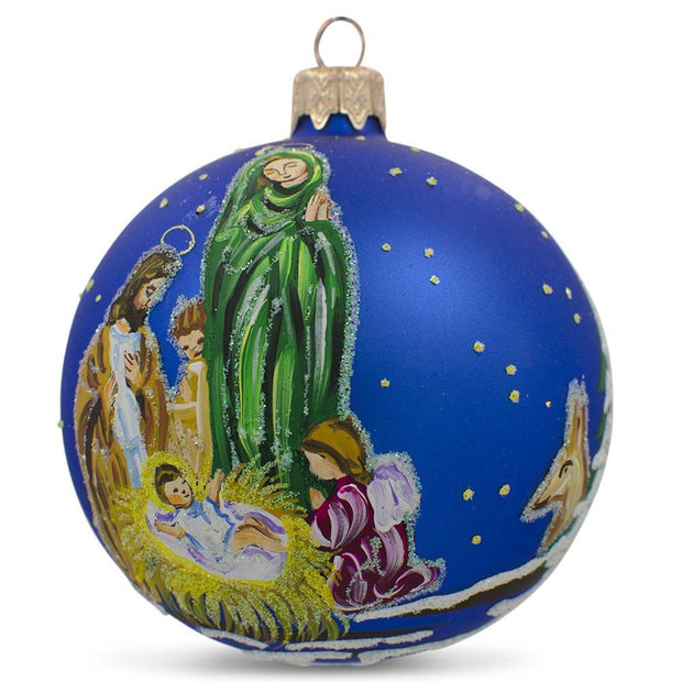 Nativity Scene Ukrainian Glass Ball Christmas Ornament 3.25 Inches by BestPysanky