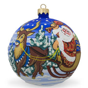 Santa, Gifts, Reindeer and Bunnies Glass Ball Christmas Ornament 3.25 Inches by BestPysanky