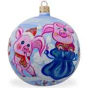 Two Pigs with Gifts in Winter Glass Ball Christmas Ornament 3.25 Inches by BestPysanky