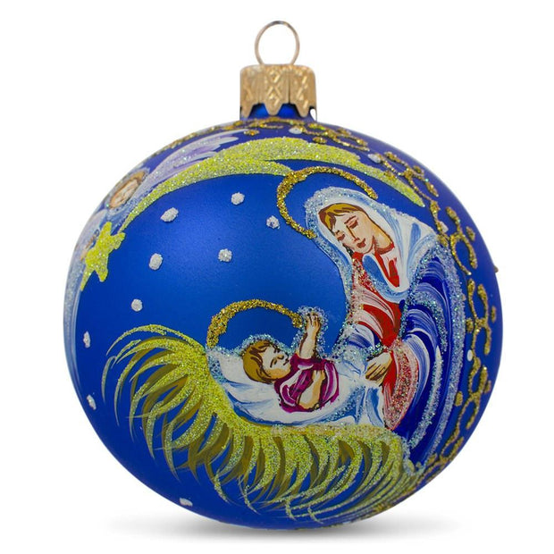 Angel Overlooking Baby Jesus Nativity Glass Ball Christmas Ornament 3.25 Inches by BestPysanky