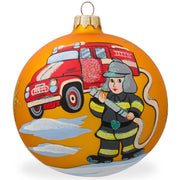 Fire Truck and Fireman Glass Ball Christmas Ornament 3.25 Inches by BestPysanky