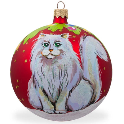Fluffy White Persian Cat Glass Ball Christmas Ornament 3.25 Inches by BestPysanky