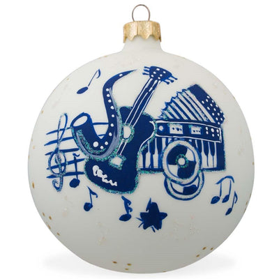 Saxophone, Guitar, Piano Music Instruments Glass Christmas Ornament 3.25 Inches by BestPysanky