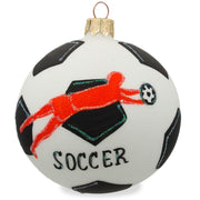 Soccer Ball and Goalkeeper Glass Ball Christmas Sports Ornament 3.25 Inches by BestPysanky