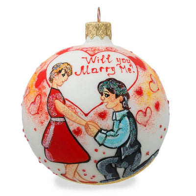 Will You Marry Me Engagement Glass Ball Christmas Ornament 3.25 Inches by BestPysanky