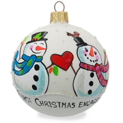 Engaged Snowman Couple Glass Ball Our First Christmas Ornament 3.25 Inches by BestPysanky