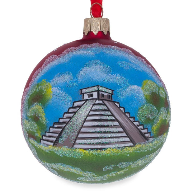 Mayan Pyramid, Mexico Glass Ball Christmas Ornament 3.25 Inches by BestPysanky