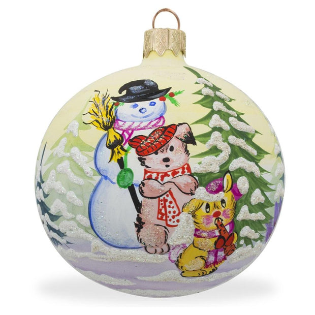 Snowman, Cat and Dog by Christmas Tree Glass Ball Ornament 3.25 Inches by BestPysanky
