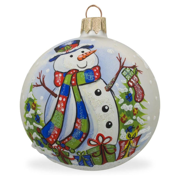 Snowman, Christmas Tree and Gifts Glass Ball Ornament 3.25 Inches by BestPysanky