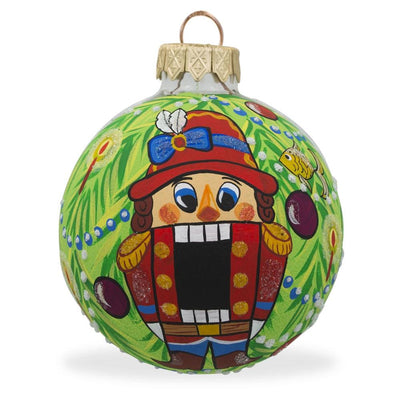 Nutcracker on Christmas Tree Glass Ball Christmas Ornament 3.25 Inches by BestPysanky