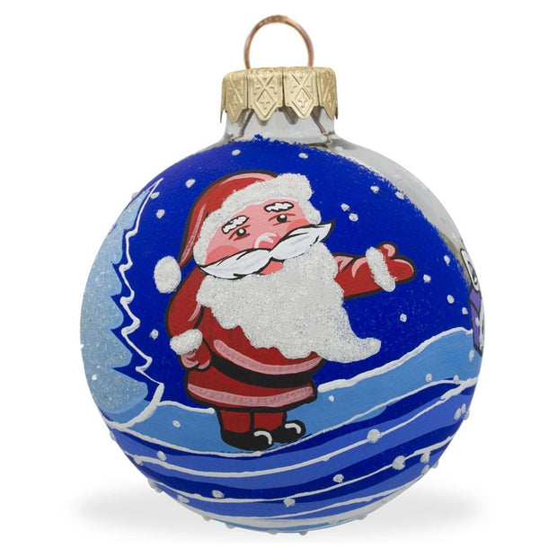 Santa Claus with Gifts Glass Ball Christmas Ornament 3.25 Inches by BestPysanky