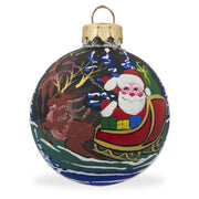 Santa Claus with Sleigh and Reindeer Glass Ball Christmas Ornament 3.25 Inches by BestPysanky