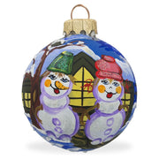 Snowman Couple Glass Ball Christmas Ornament 3.25 Inches by BestPysanky