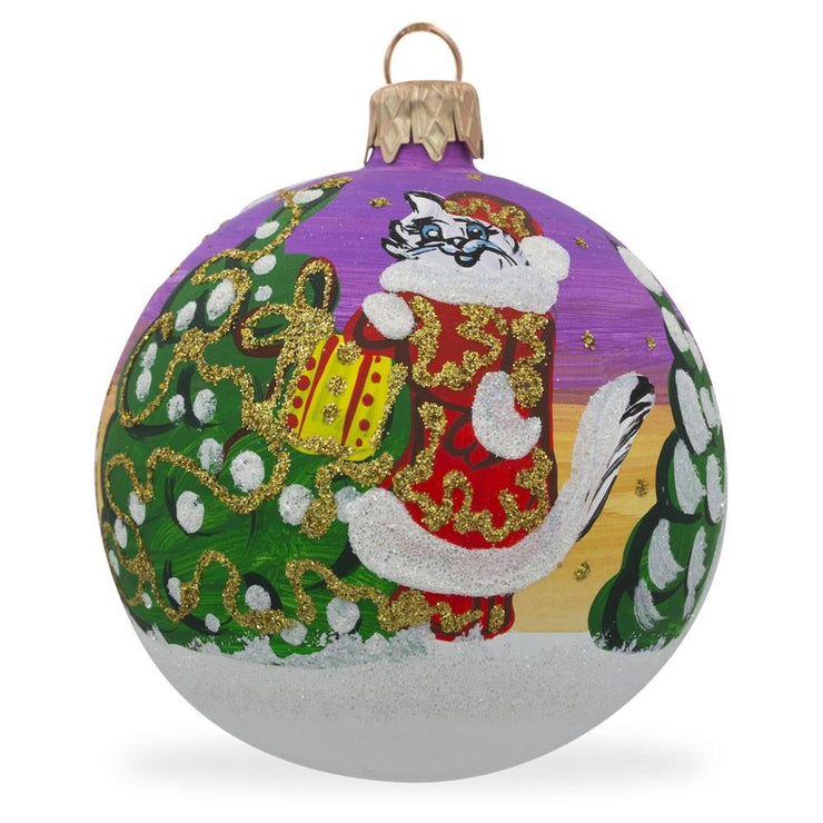 Cat Leaving Holiday Gifts Glass Ball Christmas Ornament 3.25 Inches by BestPysanky