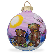 Two Teddy Bears Glass Ball Christmas Ornament 3.25 Inches by BestPysanky