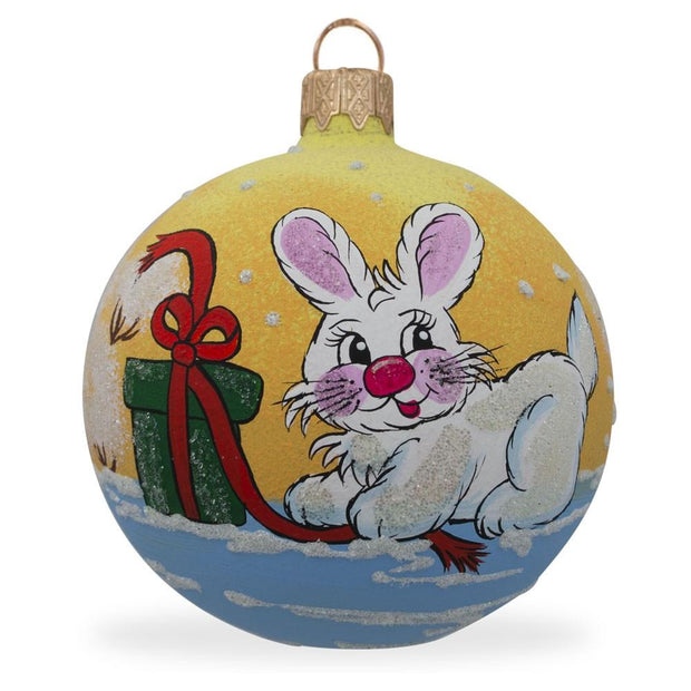 Bunny Rabbit and Gift Glass Ball Christmas Ornament 3.25 Inches by BestPysanky