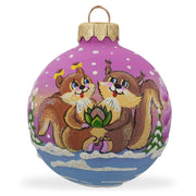 Squirrel Couple in Love, Lotus Flower Glass Ball Christmas Ornament 3.25 Inches by BestPysanky