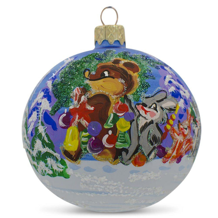 Bear with Bunny and Squirrel by Christmas Tree Glass Ball Ornament 3.25 Inches by BestPysanky