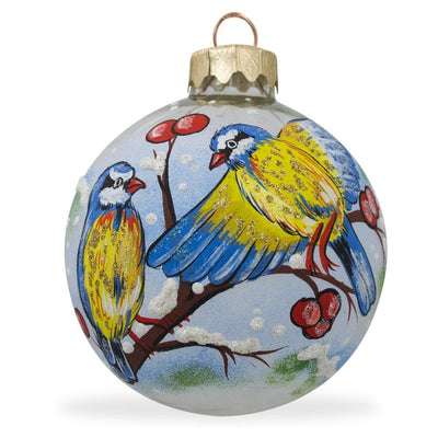 Blue and Yellow Birds on Branch Glass Ball Christmas Ornament 3.25 Inches by BestPysanky