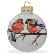 Red-breasted Black Bird Glass Ball Christmas Ornament 3.25 Inches by BestPysanky