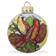 Two Cardinal Birds Glass Ball Christmas Ornament 3.25 Inches by BestPysanky