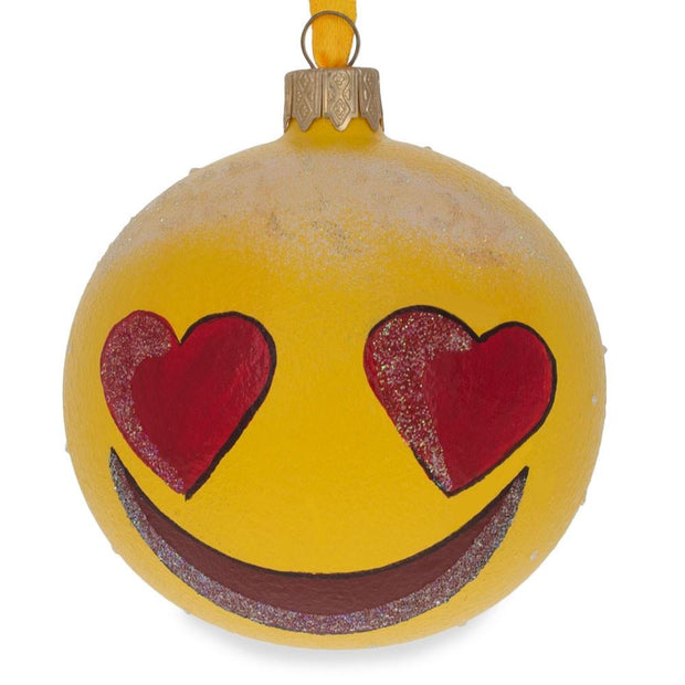 Heart Eyes In Love Emoji Glass Ball Christmas Ornament 3.25 Inches by BestPysanky