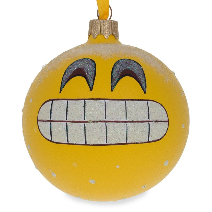 The Grin Emoji Glass Ball Christmas Ornament 3.25 Inches by BestPysanky