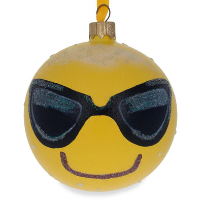 Cool Sunglasses Emoji Glass Ball Christmas Ornament 3.25 Inches by BestPysanky