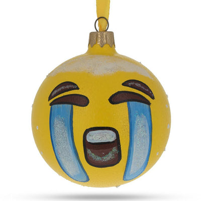 Loudly Crying Emoji Glass Ball Christmas Ornament 3.25 Inches by BestPysanky
