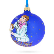 Veterinarian Checking Dog Glass Ball Christmas Ornament 3.25 Inches by BestPysanky