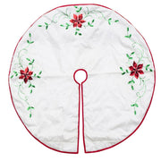 White Poinsettia Embroidered Christmas Tree Skirt 48 Inches by BestPysanky