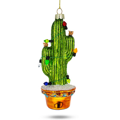 Cactus with Lights Glass Christmas Ornament by BestPysanky