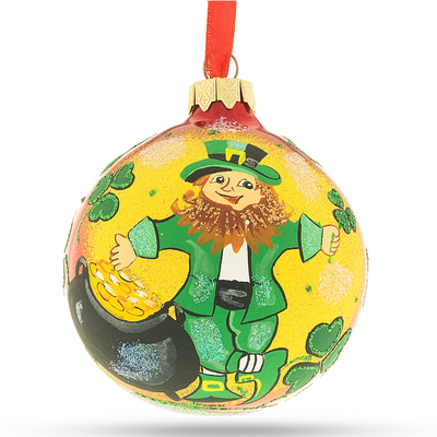 Leprechaun & Pot of Gold Glass Christmas Ornament 3.25 Inches by BestPysanky