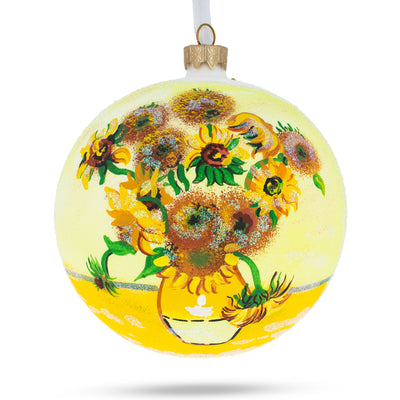 "1887 ""Sunflowers"" Painting by Vincent Van Gogh Glass Ball Christmas Ornament 4 Inches by BestPysanky"