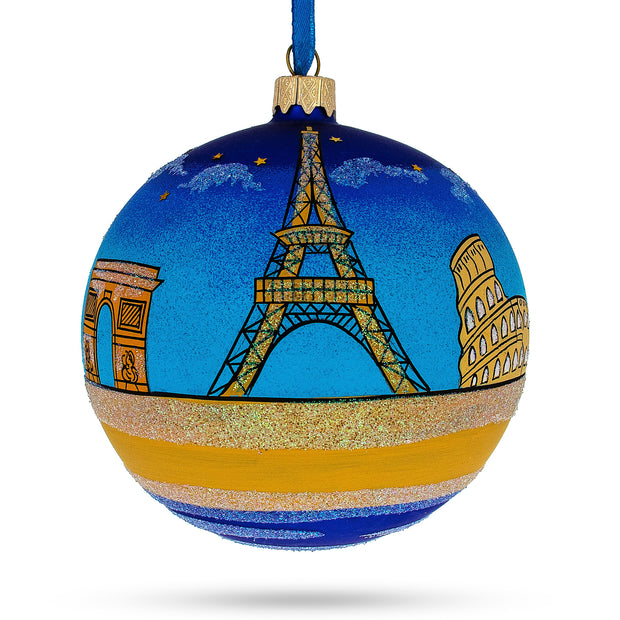 European Travel Attractions Glass Christmas Ornament 4 Inches by BestPysanky