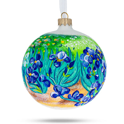 "Vincent Van Gogh ""Irises"" Glass Ball Christmas Ornament 4 Inches by BestPysanky"