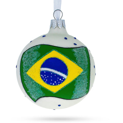 Flag of Brazil Glass Ball Christmas Ornament by BestPysanky