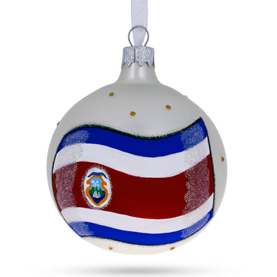 Flag of Costa Rica Glass Ball Christmas Ornament by BestPysanky