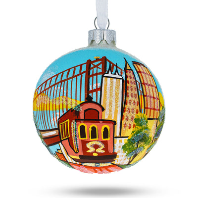 San Francisco, USA Tram Glass Christmas Ornament by BestPysanky