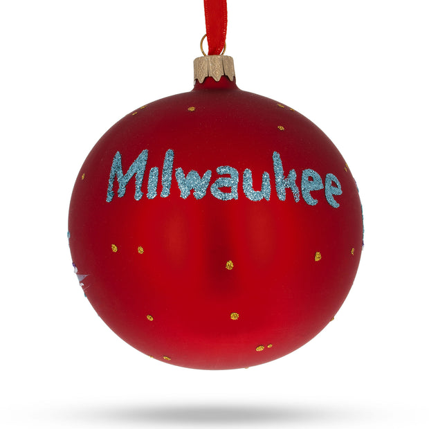 Buy Online Gift Shop Milwaukee, Wisconsin Glass Ball Christmas Ornament 4 Inches
