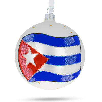 Flag of Cuba Glass Ball Christmas Ornament 4 Inches by BestPysanky
