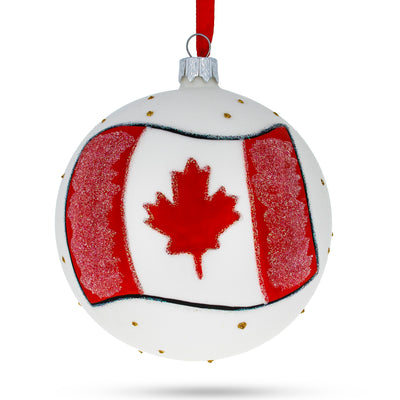 Flag of Canada Glass Ball Christmas Ornament 4 Inches by BestPysanky