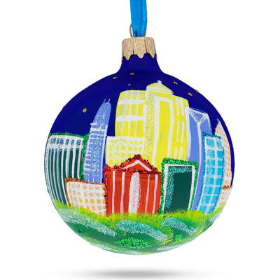 Charlotte, North Carolina Glass Christmas Ornament by BestPysanky