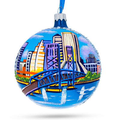 Jacksonville, Florida Glass Christmas Ornament 4 Inches by BestPysanky