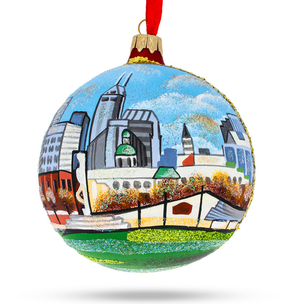 Indianapolis, Indiana Glass Ball Christmas Ornament 4 Inches by BestPysanky