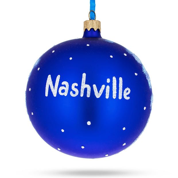 Nashville, Tennessee Glass Christmas Ornament 4 Inches